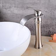 billige Sprinkle®-kraner-Baderom Sink Tappekran - Foss Nikkel Børstet Vannrett Montering Enkelt Håndtak Et Hull