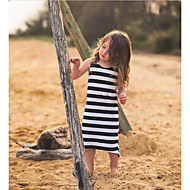 Kids Girls' Stripes Striped Sleeveless Cotton Dress Black