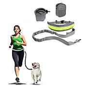 犬 ハンズフリーリーシュ スリップリード 反射 携帯用 折り畳み式 安全用具 ソリッド ナイロン コットン ブラック グレー