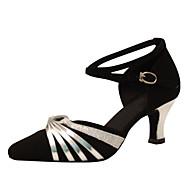 billige Moderne sko-Dame Moderne Silke Sandaler Opptreden Kryss & Tvers Kubansk hæl Svart-Hvit Svart og Sølv 5 cm Kan spesialtilpasses