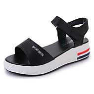 baratos Sapatos Femininos-Mulheres Sapatos Couro Ecológico Verão Conforto Sandálias Caminhada Sem Salto Dedo Aberto Velcro Branco / Preto