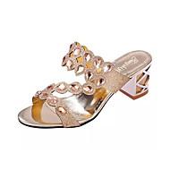 baratos Sapatos Femininos-Mulheres Sapatos Couro Ecológico Verão / Outono Conforto / Inovador / Chanel Sandálias Salto Robusto Ponteira Pedrarias Dourado / Preto /