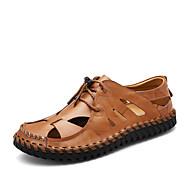 お買い得  メンズサンダル-メンズ 靴 本革 レザーレット 春 夏 コンフォートシューズ サンダル のために カジュアル ブラック Brown