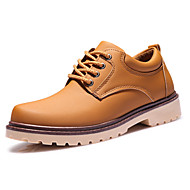 cheap Men's Oxfords-Men's Shoes Real Leather Nappa Leather Spring Fall Comfort Sneakers Walking Shoes Lace-up For Casual Outdoor Black Brown Blue