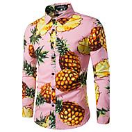 남성용 과일 프린트 - 셔츠 작동 면 파인애플 푸른 L / 긴 소매 / 가을