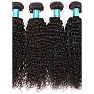 Cabelo Humano Cabelo Brasileiro Cabelo Bundle Kinky Curly Extensões de cabelo 4 Peças Preto