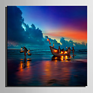 E-HOME® Stretched LED Canvas Print Art Boats On The Beach LED Flashing Optical Fiber Print One Pcs