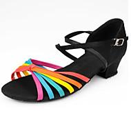 baratos Sapatilhas de Dança-Mulheres Sapatos de Dança Latina Couro Ecológico Sandália Salto Baixo Sapatos de Dança Arco-íris