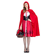 Χαμηλού Κόστους -Κοκκινοσκουφίτσα Στολές Ηρώων Χορός μεταμφιεσμένων Κοριτσίστικα Ενηλίκων Halloween Απόκριες Γιορτές / Διακοπές Στολές Κόκκινο Άλλα Πεπαλαιωμένο