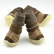 כלב נעליים ומגפיים Keep Warm אחיד שחור / חום / ורוד עבור חיות מחמד