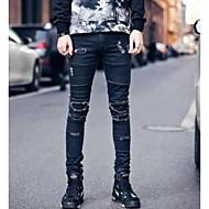 Herre Skinny Jeans Bukser - Flettet Ribbet, Ensfarvet