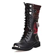זול נעליים מידות מורחבות-גברים מגפיים נוחות חדשני מגפיים אופנתיים מגפיי קרב מיקרופייבר PU סינתטי סתיו חורף קזו'אל מסיבה וערב הליכה חרוזים שרוכים עקב שטוח שחור שטוח