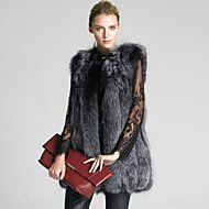 Women's Casual/Daily Simple Fall Winter Vest,Solid Round Neck Sleeveless Long Fox Fur