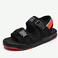 メンズ 靴 繊維 夏 コンフォートシューズ サンダル ウォーキング 面ファスナー 用途 カジュアル ブラックとホワイト ブラック/レッド