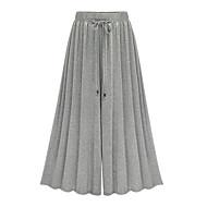 Mulheres Cintura Alta Solto Solto Perna larga Calças - Sólido, Laço