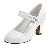 Femme Chaussures Satin Elastique Printemps / Automne Escarpin Basique Chaussures de mariage Talon Bottier Bout rond Cristal Blanc / Ivoire