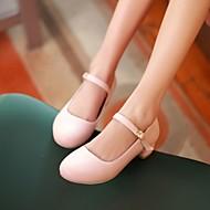 レディース 靴 PUレザー 春 コンフォートシューズ ヒール チャンキーヒール ラウンドトウ 用途 カジュアル ピンク ライトブルー アーモンド