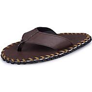 tanie Obuwie męskie-Męskie Buty PU Derma Lato Comfort Sandały na Casual Na wolnym powietrzu Black Brown