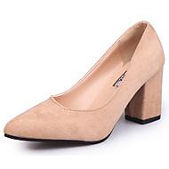 baratos Sapatos Femininos-Mulheres Sapatos Camurça Outono Conforto Saltos Salto Robusto Ponta Redonda Mocassim Preto / Camel / Social