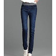 Dame Afslappet Skinny Jeans Bukser Ensfarvet