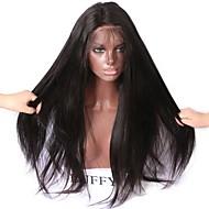 Kvinder Blondeparykker af menneskehår Menneskehår Blonde Front 180% Massefylde Glat Paryk Sort Kort Medium Lang Natural Hairline Til