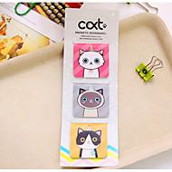 3 stk / sett tegneserie katt magnetisk bokmerke (tilfeldig farge)