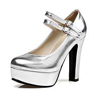 Damen High Heels Komfort Kunstleder Frühling Sommer Normal Kleid Walking Schnalle Blockabsatz Gold Schwarz Silber 10 - 12 cm
