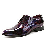 baratos Sapatos Masculinos-Homens Impressão Oxfords Couro Primavera / Outono Sapatos De Casamento Roxo / Azul / Festas & Noite