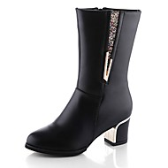 Women's Boots Combat Boots Fall Real Leather Walking Shoes Casual Zipper Chunky Heel Black Burgundy 2in-2 3/4in