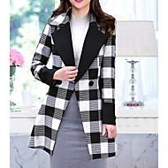 Feminino Casaco Para Noite Casual Trabalho Simples Inverno,Xadrez Longo Cashmere Lã Colarinho Chinês Manga Longa