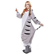 Pijamas Kigurumi Gato Chi Sweet Home / Cat Cheese Pijamas Macacão Ocasiões Especiais Lã Polar Branco Cosplay Para Adulto Pijamas Animais
