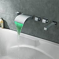 cheap Bathtub Faucets-Bathtub Faucet - Contemporary Modern Style LED Chrome Wall Mounted Brass Valve