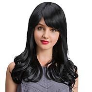 Rijpe gracieuze zwarte kleur lange golf menselijk haar pruiken voor vrouwen
