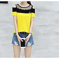Dame - Ensfarvet T-shirt Bomuld