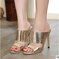 Feminino Sapatos Pele Real Couro Ecológico Primavera Verão Plataforma Básica Saltos Para Casual Dourado Prata