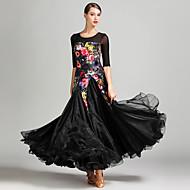 Klasični plesovi Žene Seksi blagdanski kostimi Til Baršun Uzorak / print Color blok Rukava do lakta Prirodno Haljina