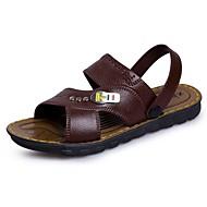 Masculino Sandálias Conforto Verão Couro Tule Casual Rasteiro Preto Marron 5 a 7 cm