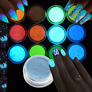 1set / 12pcs Akryl Pulver Glitter 12 farver Negle kunst Manicure Pedicure Elegant & Luksuriøs / Glitrende / Selvlysende