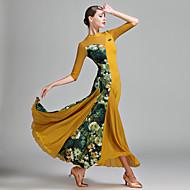 Бальные танцы Жен. Тюль Лайкра Ice Silk (искусственное волокно) Узоры / принт Планка Рукав до локтя Средняя талия Платье