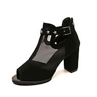 Women's Sandals Comfort Gladiator Spring Summer Breathable Mesh PU Dress Party & Evening Beading Buckle Chunky Heel Black Blue Burgundy