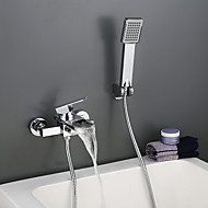 Contemporary Wall Mounted Waterfall Spout Handshower Included with  Single Handle Bathroom Bathtub Faucet Set in Chrome