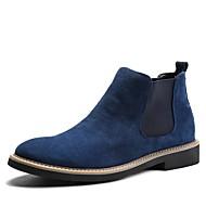 お買い得  メンズブーツ-メンズ ブーツ ファッションブーツ ブーティー スエード レザー 秋 冬 カジュアル 編み上げ フラットヒール ブラック グレー ブルー フラット