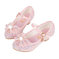 cheap Flower Girl Shoes-Girls' Shoes Synthetic Microfiber PU Winter Fall Flower Girl Shoes Novelty Comfort Flats Sequin Buckle for Casual Dress White Blue Pink