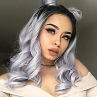 Uniwigs Naisten Synteettiset peruukit Lace Front Keskikokoinen Harmaa Liukuvärjätyt hiukset Luonnollinen peruukki Rooliasu peruukki