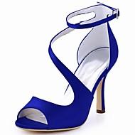 baratos Sapatos Femininos-Mulheres Sapatos Tecido elástico Verão Plataforma Básica Sapatos De Casamento Salto Agulha Peep Toe Presilha Azul Escuro / Azul / Roxo Escuro / Festas & Noite