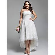 A-kroj Bez naramenica Asimetričan kroj Čipka Til Vjenčanica s Perlica Aplikacije Nabrano po LAN TING BRIDE®
