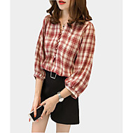 Majica Žene Karirani uzorak Lantern rukav V izrez Poliester