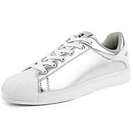 tanie Obuwie męskie-Męskie Buty PU Wiosna Jesień Comfort Tenisówki Szurowane na Casual Black Silver Black/White
