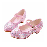 cheap Girls' Shoes-Girls' Shoes Synthetic Microfiber PU Winter Fall Flower Girl Shoes Novelty Comfort Flats Rhinestone Buckle for Casual Dress Gold Silver