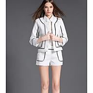 Feminino Camisa Calça Conjuntos Casual Simples Primavera Outono,Sólido Colarinho de Camisa Manga 3/4